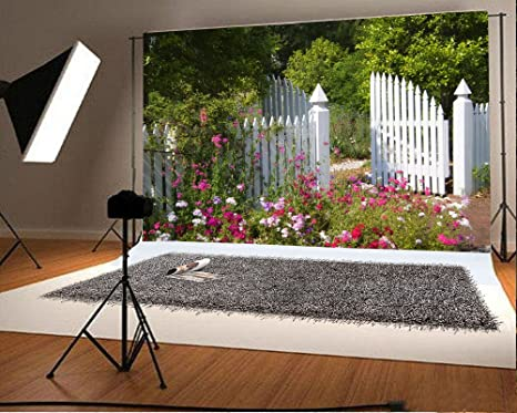 Amazon laeacco 7x5ft vinyl backdrop white garden gate laeacco 7x5ft vinyl backdrop white garden gate photography background white picket fence with multi colored mightylinksfo