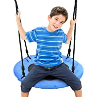 Odoland 24 inch Chidren Tree Swing Net Swing Outdoor Kid Platform Swing with Detachable 600LB Weight Load Oxford Fabric and Adjustable Hanging Ropes for Tree, Backyard and Indoor Blue