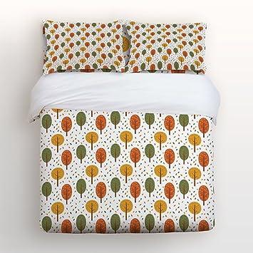 Libaoge 4 Teiliges Bettwäsche Set Herbst Thema Orange Rot Ahorn