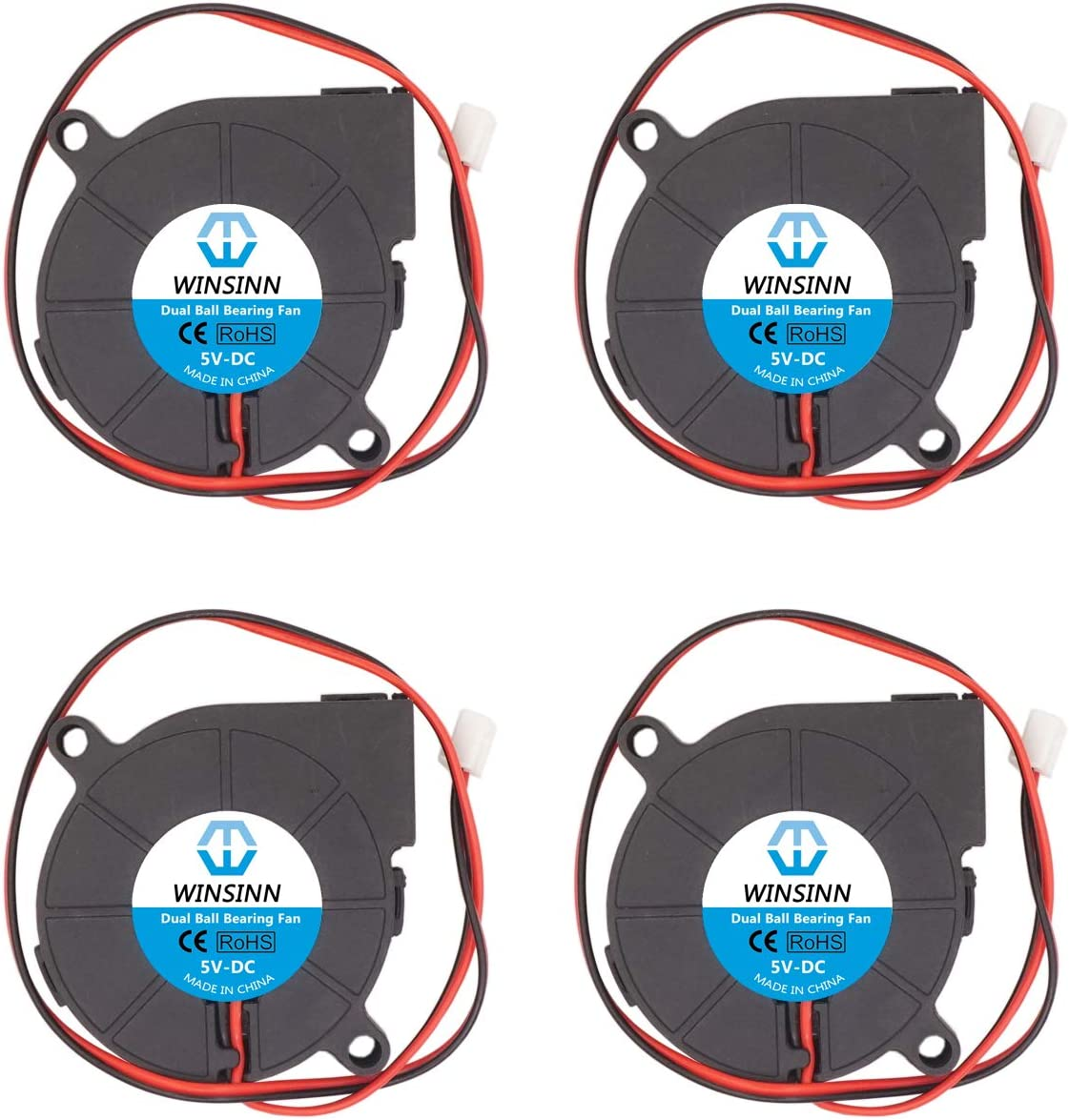 WINSINN 50mm Blower Fan 5V 5015 Dual Ball Bearing 50x15mm Turbine Turbo Brushless for Cooling PC CPU - High Speed (Pack of 4Pcs)
