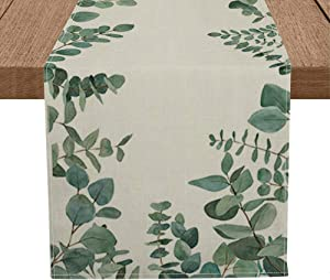 Artoid Mode Eucalyptus Leaves Table Runner, Seasonal Spring Summer Green Plants Holiday Kitchen Dining Table Decoration for Home Party Decor 13 x 72 Inch