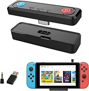 Bluetooth Adapter for Nintendo Switch, Zamia BT 5.0 Wireless Connector with OTG Adapter for Nintendo Switch Lite/TV Dock PS4/PC,Mic Speak,Dual APTX Low Latency for Bluetooth Headphones