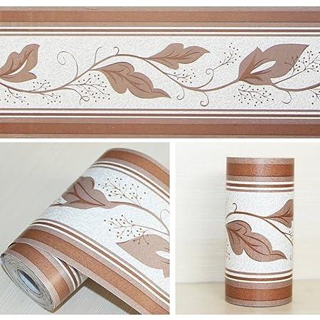 LoveFaye Peel U0026 Stick Wallpaper Border For Kitchen Bedroom Removable Wall  Borders Roll Retro Leaf