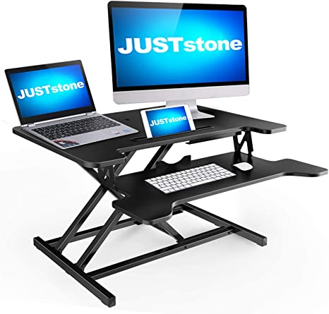 Sit-Stand Laptop Riser Workstation for Home and Office Standing Desk 32 inch Height Adjustable Standing Desk Converter Gas Spring Stand Up Computer Desk Fits Dual Monitors