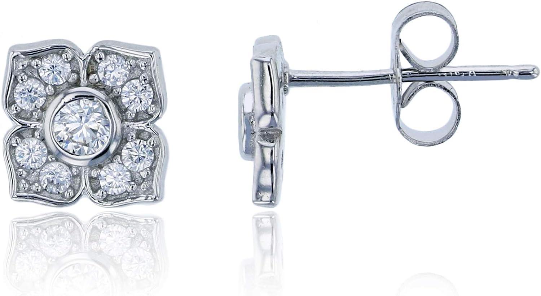 Elegant Micro Pave CZ Rose Flower Rose Gold Plated Stud Earrings for Women Girl