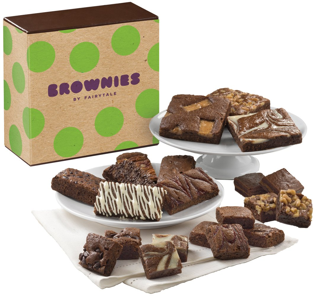 Fairytale Brownies Medley Gourmet Food Gift Basket Chocolate Box - Full-Size, Snack-Size and Bite-Size Brownies - 21 Pieces
