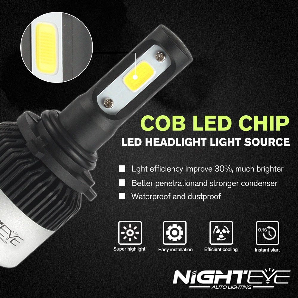 Auto LED Headlight Bulbs Wishshopping Nighteye-A315-S2 9006 HB4 72W 9000LM 6500K Cool White LED Automotive Headlight Bulbs Auto Conversion Driving Lamp FOR CSP LED CHIPS Pack of 2 -3 Year Warranty