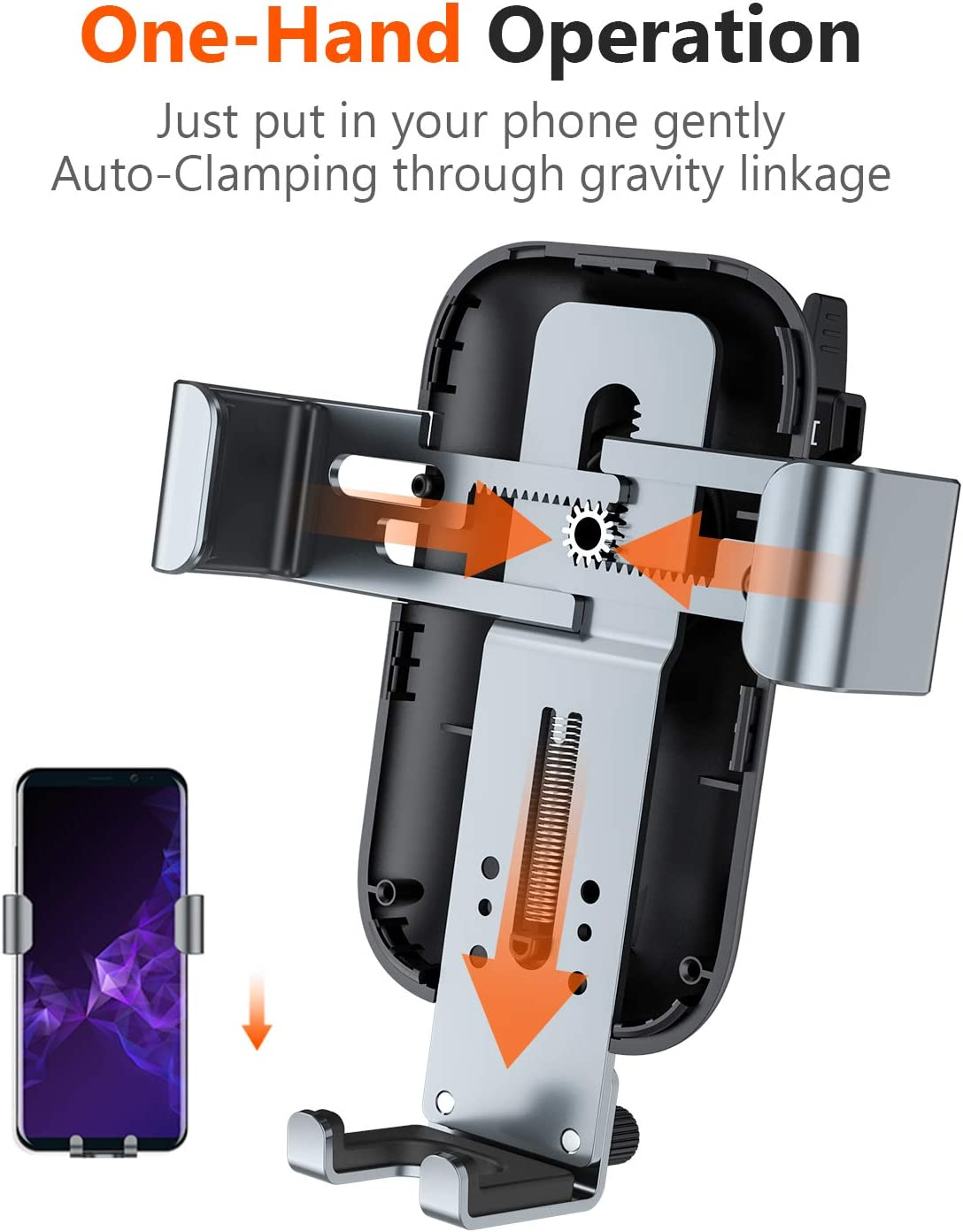 TORRAS Wireless Car Charger Mount More Auto-Clamping Gravity Fast Cell Phone Charger Holder Compatible with iPhone 11 Pro Max//Xs//Xs Max//XR//X // 8//8 Plus Galaxy Note 10 // S10 // S9+ // S8
