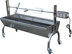 TITAN GREAT OUTDOORS Rotisserie Grill Roaster Stainless Steel 13W 88LBS Capacity BBQ Charcoal Pig