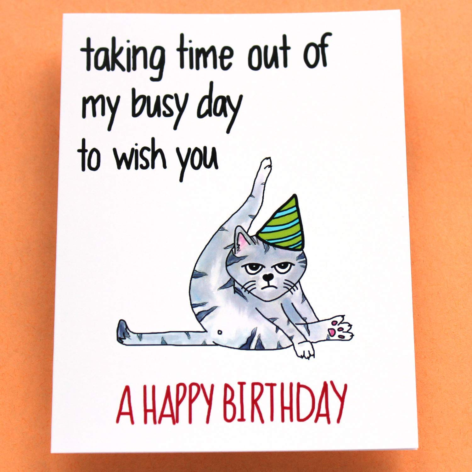 Funny Cat Birthday Card Grumpy