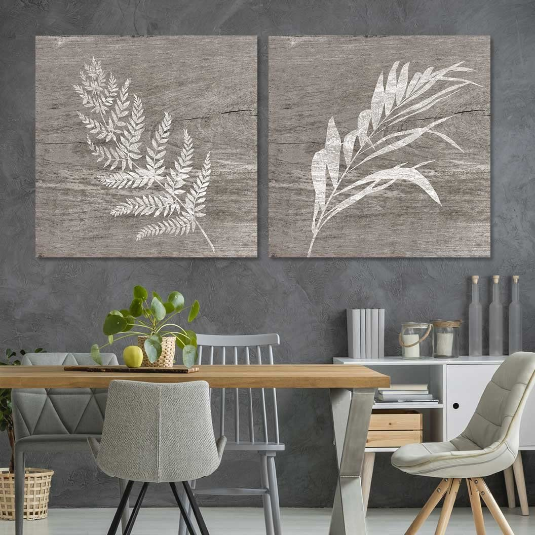 """wall26 - 2 Panel Square Canvas Wall Art - White Folliage Wood Effect Canvas - Giclee Print Gallery Wrap Modern Home Decor Ready to Hang - 24""""x24"""" x 2 Panels"""