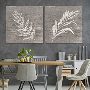 """wall26 - 2 Panel Square Canvas Wall Art - White Folliage Wood Effect Canvas - Giclee Print Gallery Wrap Modern Home Art Ready to Hang - 12""""x12"""" x 2 Panels"""
