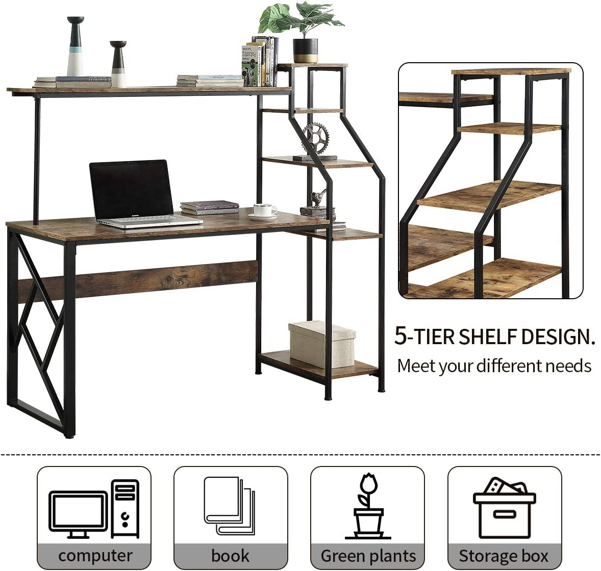 Henf Home Office Computer Desk with Storage Shelves Monitor Stand Study Table Modern Steel Frame Compact Wood Desk Home Office Workstation Type 5