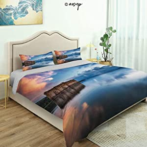 Homenon 3 Piece Queen/King Size Bedroom Decor Epic Long Exposure European Building in Dam with Water Historical Quilts Cover with 2 Pillow Cover for Children Teen Boy Adult Beding Set (Queen)