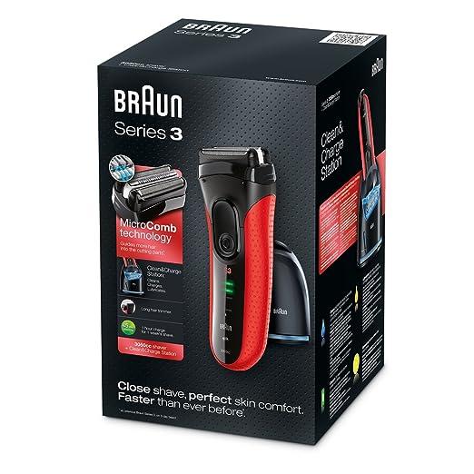 452 opinioni per Braun Series 3 3050Cc Rasoio per Uomo, Rosso- 1 Prodotto