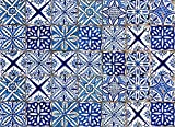 Home Decor Line CR-67215 Blue Azulejos Kitchen Panel Decal, , Black