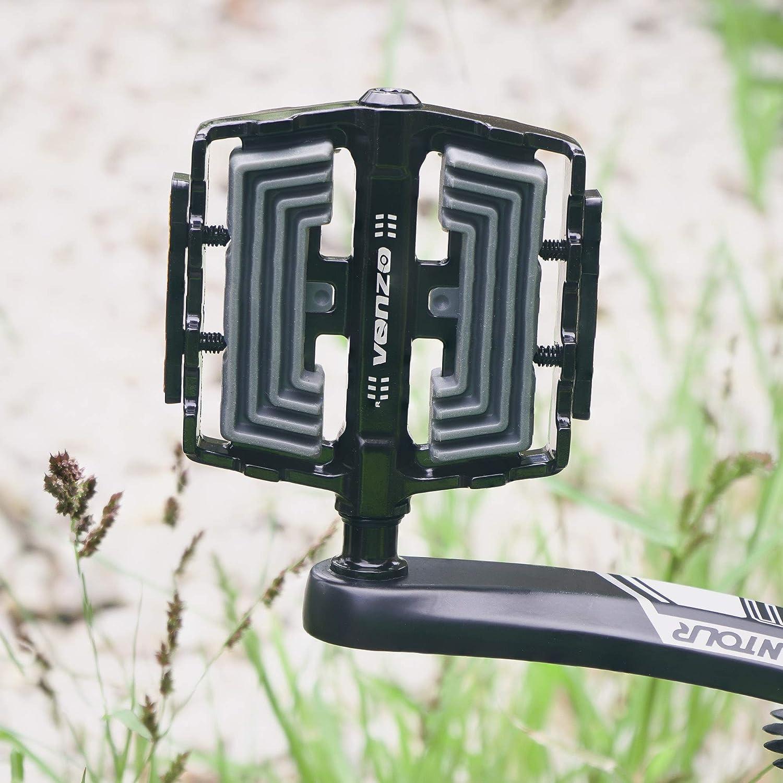 VENZO Flat Mountain BMX MTB Aluminum Bike Anti-Skid Sealed Bearing Pedals