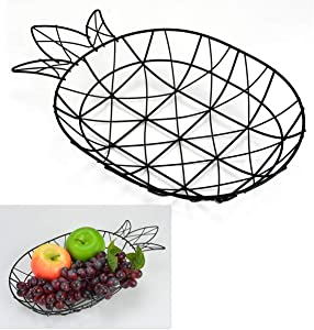 "Countertop Fruit Basket Dish Bowl Container Platter (Iron Wire Black)- 14.0"" L x 9.0"" W Pineapple Shape For Kitchen Table Home Decor"