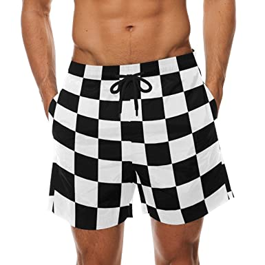15855fb3bd DEYYA Checkered Summer Beach Shorts Pants Men's Swim Trunks Board ...