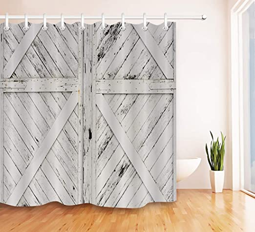 Rustic Barn Door Shower Curtain Bathroom Fabric Western Country Farmhouse Decor