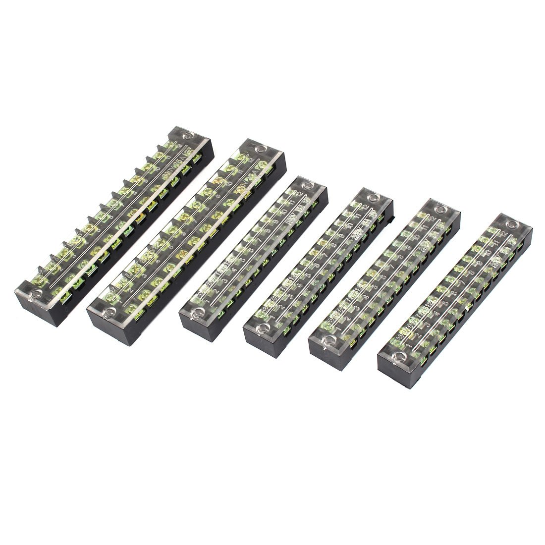 uxcell TB1512L TB2512 Double Row 12 Position Barrier Terminal Block 6pcs