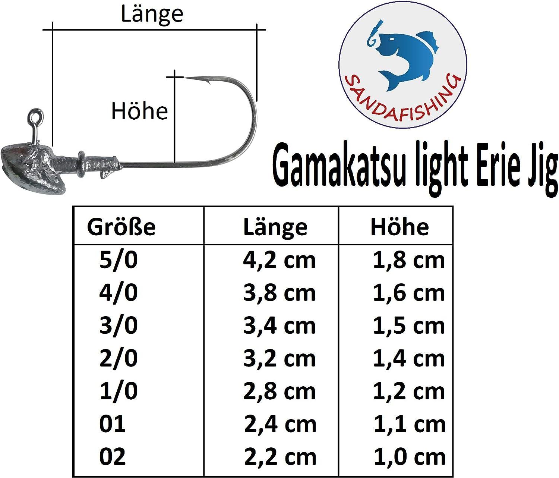 SANDAFishing Erie Jigkopf Spitze Haken extrem scharf zum Gummifisch Angeln Jig Blei Kopf Gr/ö/ße 02 bis 5//0
