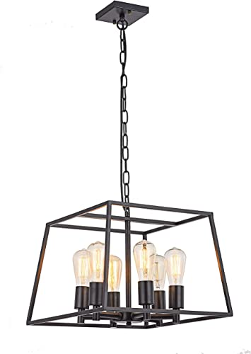 HOXIYA 6 Light Pendant Light Black Metal Candle Style Hanging Ceiling Light Fixture Rustic Lantern Pendant Lighting for Kitchen Farmhouse Island Bar Dining Room Restaurant