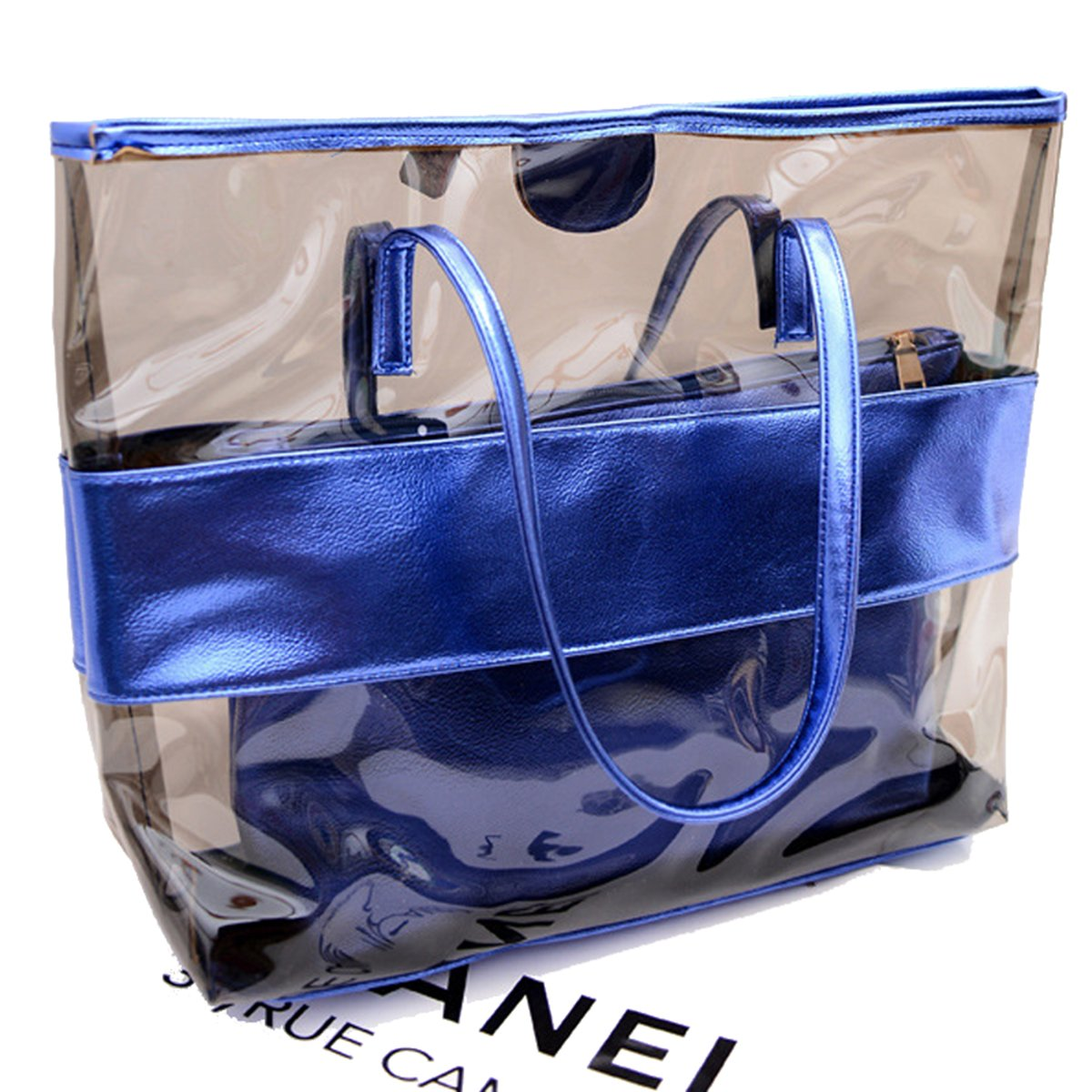 Starbailey Women 2 Piece Tote Bag,Pu Leather Semi Clear PVC Handbag Shoulder Purse Bags, Summer Fashion Weekender Bag -Blue Color