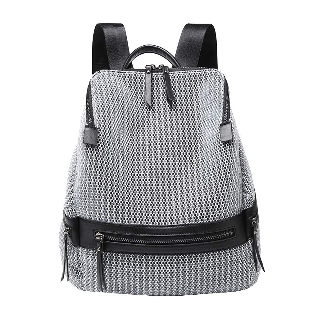Excursion Sports Stylish Personality Backpack for Women, Portable Casual Daypacks Nylon Zippers Pockets Shoulder Bag, Ladies Durable Hang Out Handbags by Excursion Sports