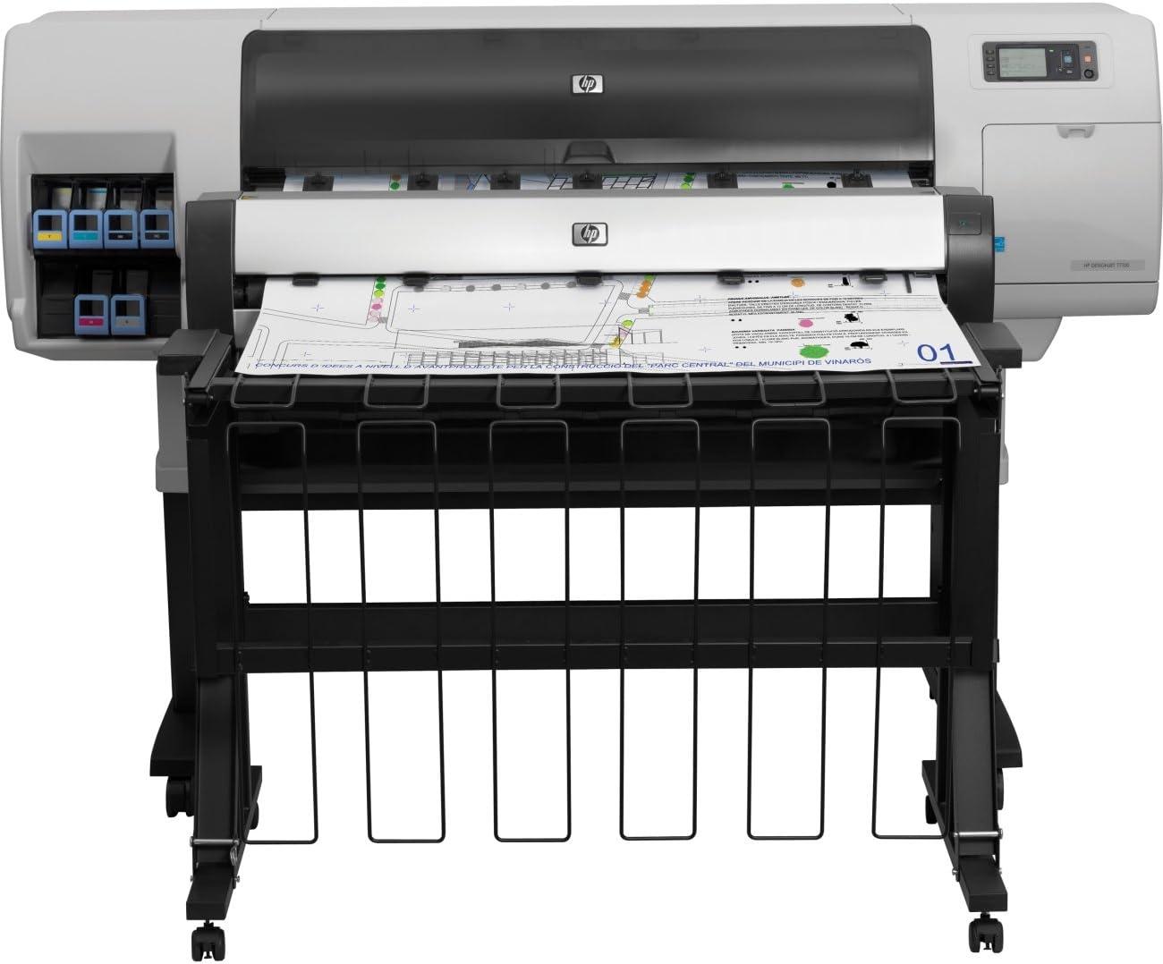 HP Designjet T7100 Printer - Impresora de gran formato (165 pph, 2400 x 1200 DPI, Negro, Cian, Gris, Gris, Magenta, Amarillo, 0,4 mm, 5 mm, 775ml/400ml): Amazon.es: Informática
