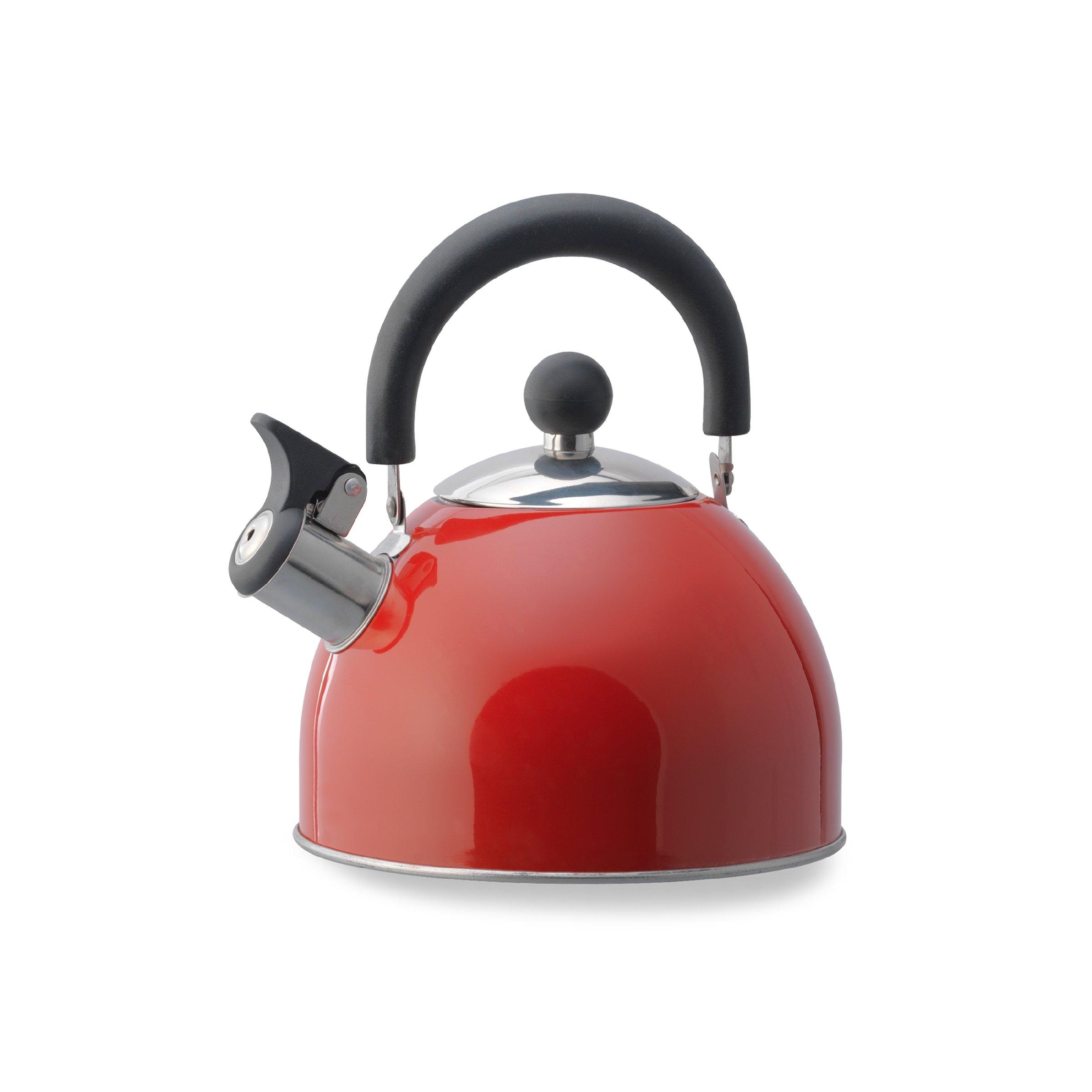 Kamenstein 5071099 Whistle Stainless Steel Tea Kettle 2-Quart, Red