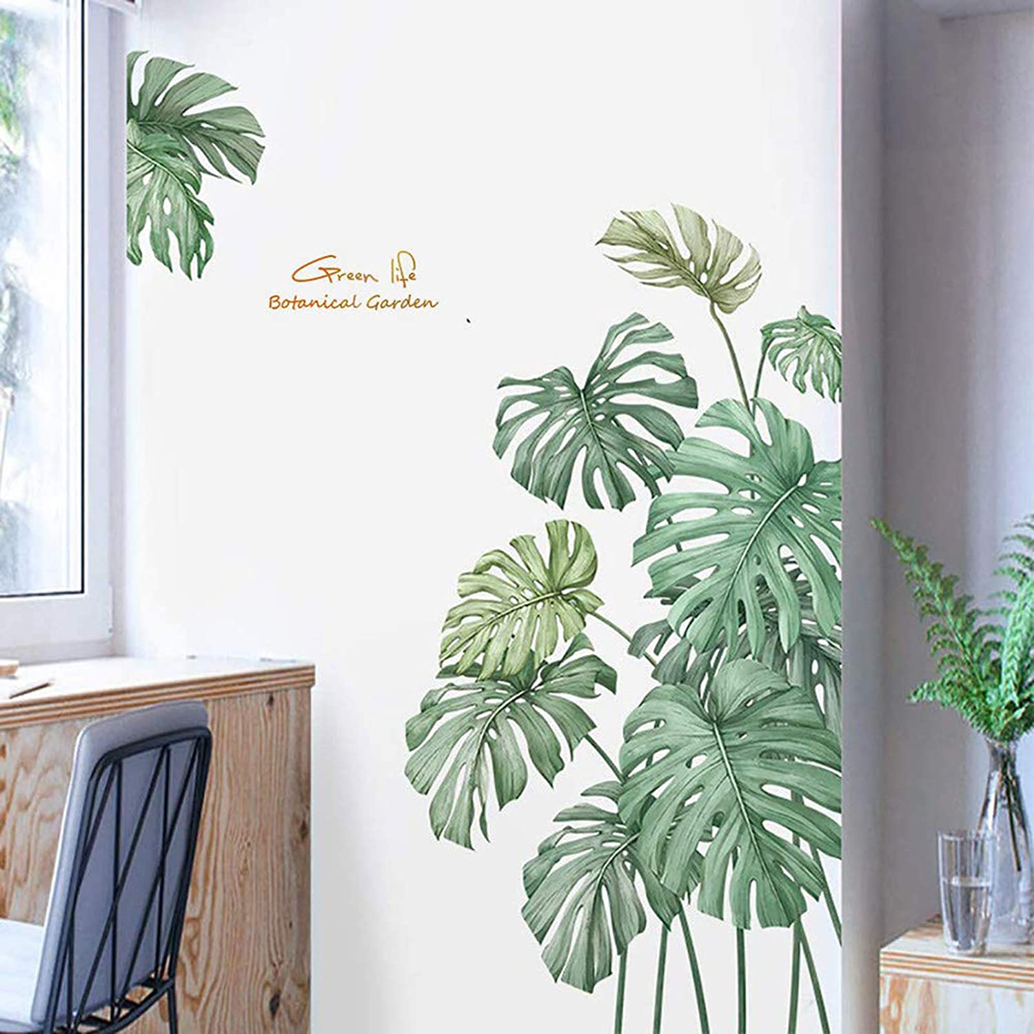 Green Tropical Wall Stickers Palm Leaf Wall Decals for Bedroom, Natural Plants Art Murals Jungle Leaf Wall Posters Fresh Wall Decor for Living Room Nursery Office