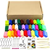 36 Colors Oven Bake Polymer Clay 5 Sculpture Tool Set and Accessories Plus Tutorials, DIY Modelling Moulding Kit Colorful Clay Safe and Soft plasticine for Children (36 Colors)
