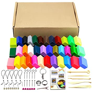 Kit de 32 colores de arcilla polimérica, 5 herramientas y distintos accesorios para el modelado, con tutoriales 32 colors: Amazon.es: Hogar