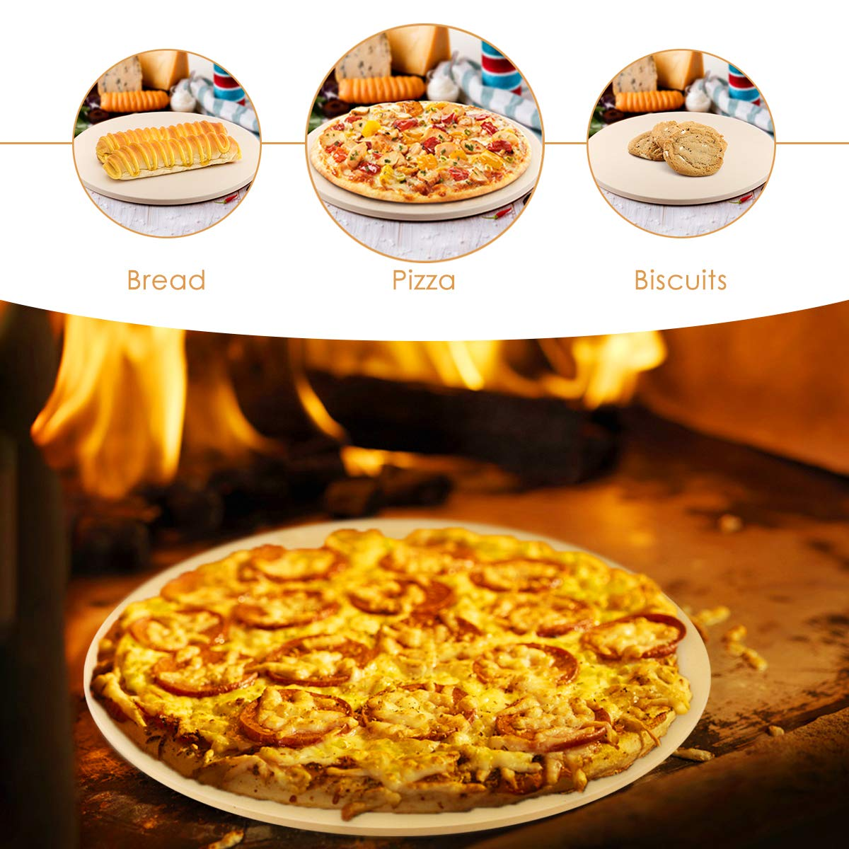 Pizza Stone, Cakie Heavy Duty Ceramic Pizza Grilling Stone, 16 Inch Round Baking Stone, Pizza Pan, Perfect for Oven, BBQ and Grill, Thermal Shock Resistant, Durable and Safe by Cakie (Image #6)