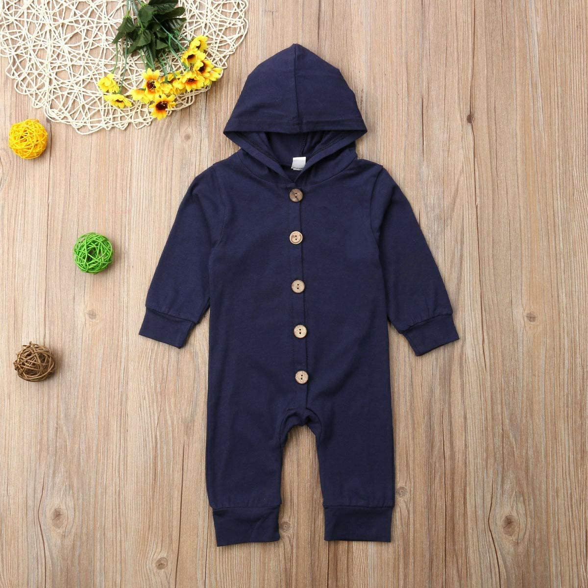 MA/&BABY Baby Hooded Romper Newborn Boy Girl Long Sleeve Button Jumpsuit Bodysuit Clothes Outfits