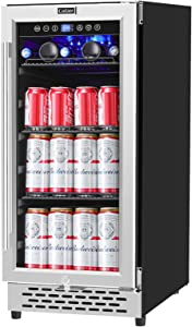 COLZER 15 Inch Beverage Cooler Refrigerator - 120 Cans Freestanding and Built-in Mini Fridge with Glass Door for Soda Beer Wine or Water - Under Counter Compact Drink Fridge for Kitchen Bar Office