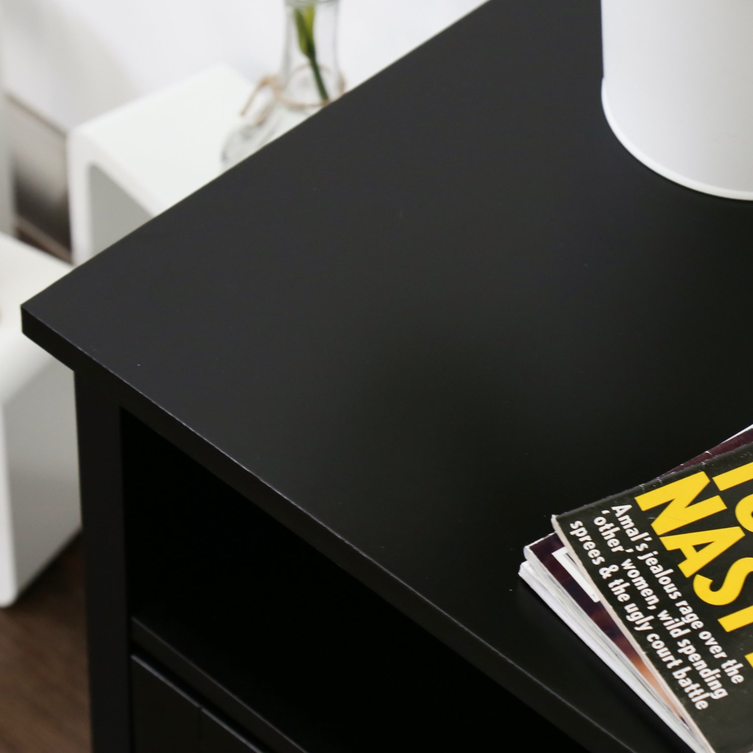 Kinbor Bedroom Night Stand with 2 Drawers Black Accent End Table Side Table Beside Sofa Black for Living Room
