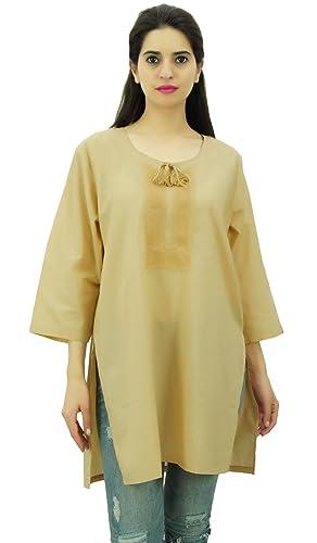 SEASHORE Bordado Casual verano étnico desgaste de algodón de tela Mujeres 3/4 manga Kurti