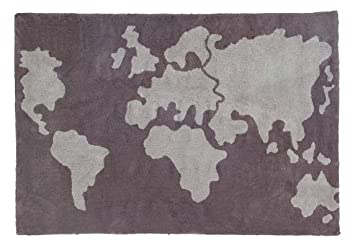World Map Rug Amazon.: Lorena Canals Washable Rug World map   100% Cotton