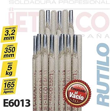 Electrodo Rutilo E6013 para soldadura de Acero al Carbono (Hierro, Acero dulce). MMA (Ø 3,2mm x 350mm. Paquete 5 Kg). JET-ARCO España. Ref.: J101EL: Amazon.es: Bricolaje y herramientas