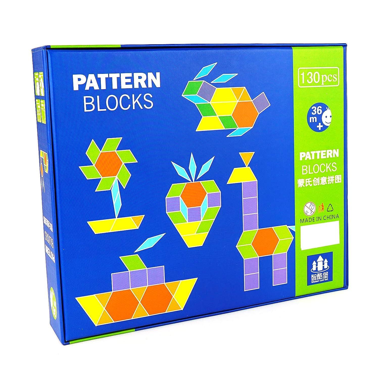 Genius Art 130 Pieces Geometric Pattern Blocks Preeschool Games Manipulatives for preschoolers