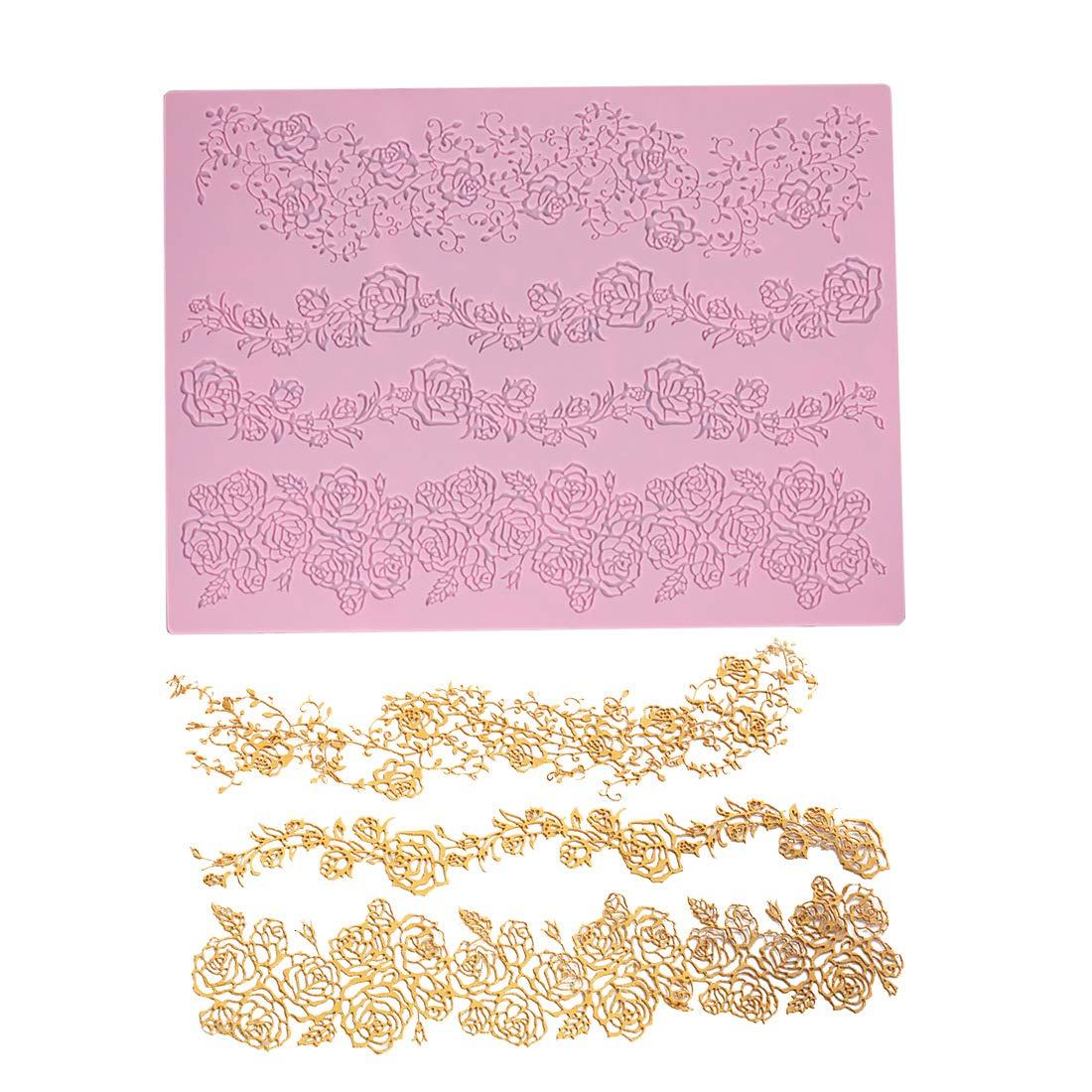 Grande tappetino da forno in silicone con motivo floreale rosa in rilievo 39,4 x 29 cm decorazione per torte con merletto