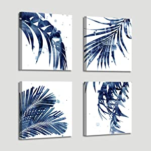 Leaf Artwork Paintings Wall Art: Palm Leaves Picture Print on Canvas for Office Bedroom (12'' x 12'' x 4 Panels)