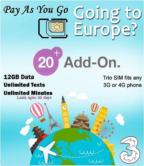Amazon Com Prepaid Europe Uk Three Sim Card 12gb Data Unlimited