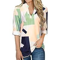 YOINS Blusa Mujer Cuello V Camiseta Estrellas impresión Manga Larga Túnica Casual SueltoTops Otoño Invierno