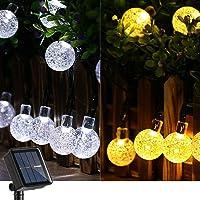 Joomer Color Changing Solar String Lights 39Ft 60 LED Solar String Lights,11 Modes Waterproof Crystal Ball Lights Fairy…