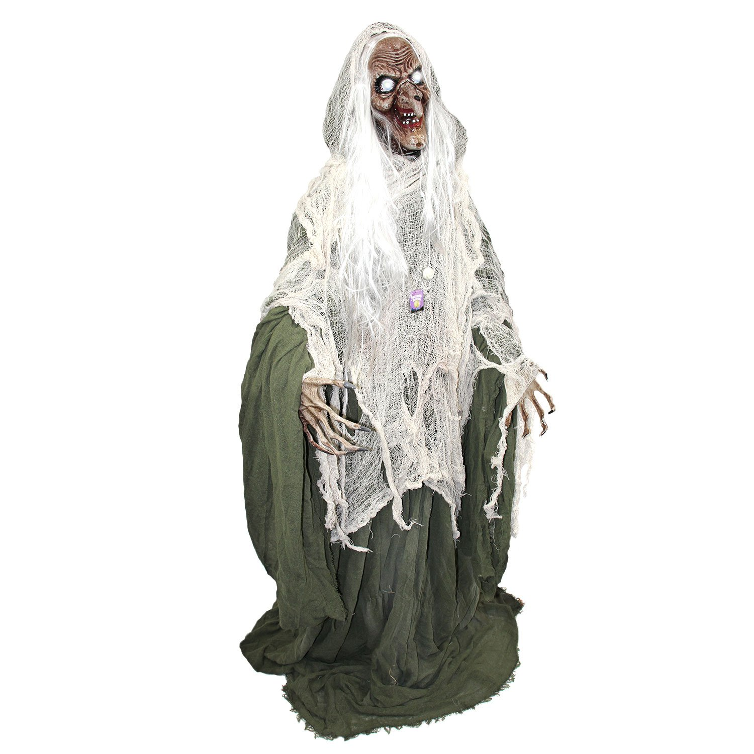 Halloween Haunters 5 foot Animated Standing Scary Evil Wicked Witch Prop Decoration - Turning Head, Moans, Cackles, LED Eyes
