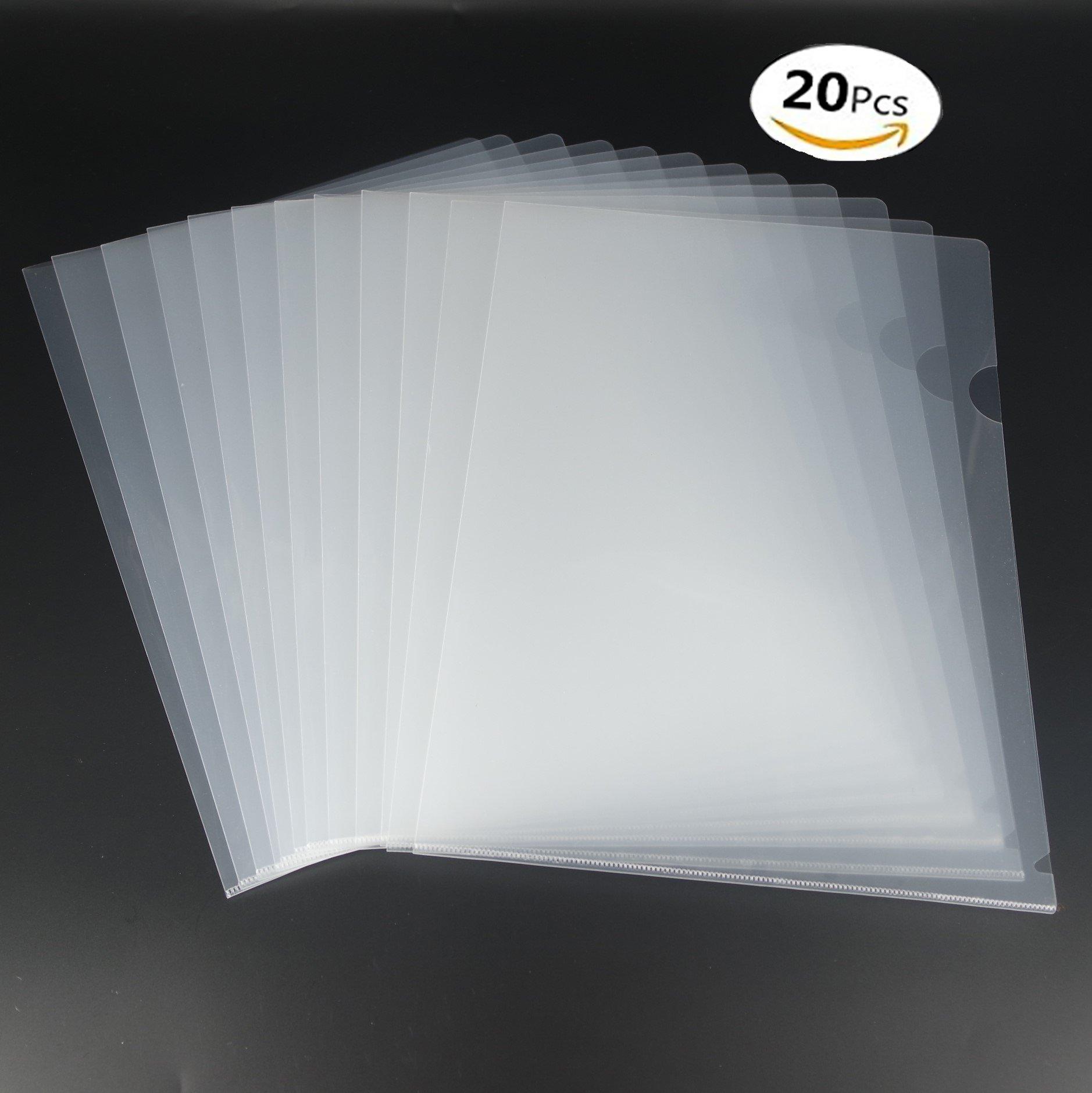 Juego de 20 portafolios de plástico transparente tamaño A4, parte superior y lateral abiertos.