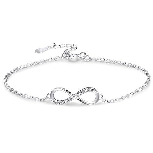 82b881ba19c Sllaiss 925 Sterling Silver Infinity Love Bracelet for Women Girls Infinity  Endless Love Symbol Charm Adjustable